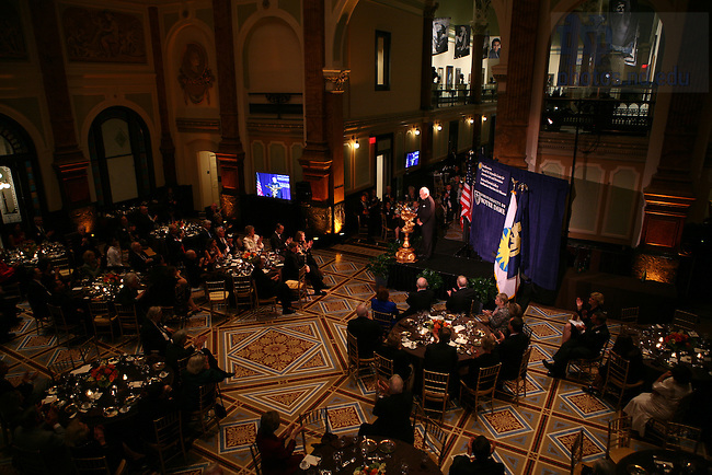 Notre Dame President Emeritus Rev. Theodore Hesburgh, speaks during his 90th birthday celebration at the Smithsonian Institution's National Portait Gallery in Washington D.C.  Photo by Matt Cashore