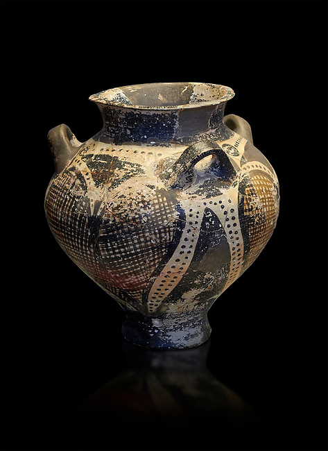 Small Mycenaean amphora decorated with large ivy leaves, Grave VI, Grave Circle A, Mycenae 16-15 Cent BC. National Archaeological Museum Athens. Cat No 192.  Black Background