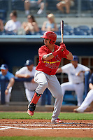 Palm Beach Cardinals Yariel Gonzalez (16) during a Florida State League game against the Charlotte Stone Crabs on April 14, 2019 at Charlotte Sports Park in Port Charlotte, Florida.  Palm Beach defeated Charlotte 5-3.  (Mike Janes/Four Seam Images)