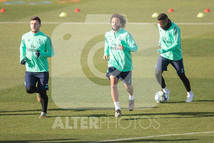 Real Madrid's Jovic, Marcelo and Vinicius Jr. during training session. <br /> November 25 ,2019.<br /> (ALTERPHOTOS/David Jar)