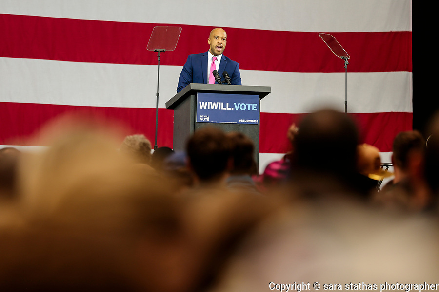 Wisconsin Lieutenant Governor candidate Mandela Barnes speaks during a campaign rally at North Division High School in Milwaukee, Wisconsin, before the midterm elections on October 26, 2018.