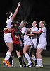 Massapequa No. 22 Melanie Hingher, far left, and teammates celebrate after their 3-0 win over West Islip in the varsity girls' soccer Class AA Long Island Championship at Adelphi University on Saturday, November 7, 2015. <br /> <br /> James Escher