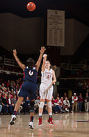 STANFORD, CA - JANUARY 16, 2015--Stanford's Bonnie Samuelson, attempts at making a basket during the Arizona game at Maple Pavilion.
