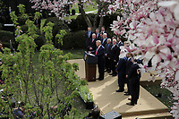 United States President Donald J. Trump makes a statement declaring a national emergency due to the COVID-19 coronavirus pandemic in the Rose Garden of the White House on March 13, 2020 in Washington, DC.<br /> Credit: Oliver Contreras / Pool via CNP/AdMedia