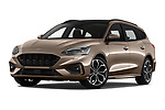 Stock pictures of low aggressive front three quarter view of a 2019 Ford Focus-Clipper  ST-Line 5 Door Wagon