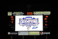 27 November 2010:  The scoreboard after the FIU Golden Panthers defeated the Arkansas State Red Wolves, 31-24, at FIU Stadium in Miami, Florida.  With the victory, FIU won the Sun Belt Conference championship and became bowl eligible for the first time in the school's history.