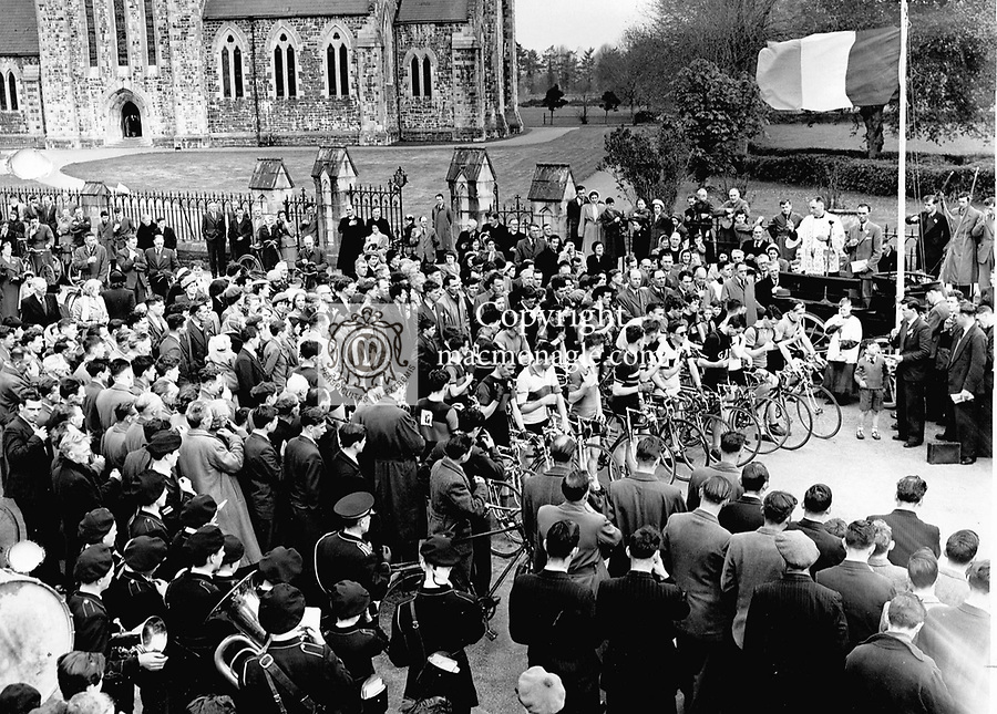 Participants in the Ras na h-Eireann gather for the start outside St. mary's cathedral, Killarney in 1964.Photo:-macmonagle.com archive