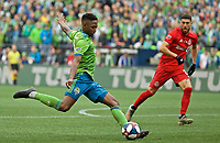 SEATTLE, WA - NOVEMBER 10: Seattle Sounders defender Kelvin Leerdam #18 scores a goal during a game between Toronto FC and Seattle Sounders FC at CenturyLink Field on November 10, 2019 in Seattle, Washington.
