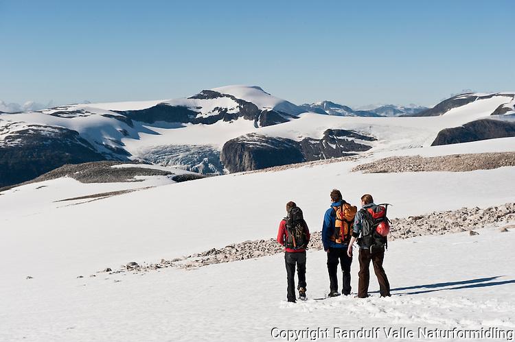 Fjellvandrere på vei ned snøfelt på Bødalsfjellet. Tindefjellbreen og Skålbreen i bakgrunnen. ----- Hikers on snow field on Bødalsfjellet.
