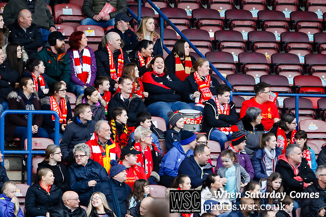 Liverpool Ladies 2 Everton Ladies 1, 19/03/2017. Select Security Stadium, SSE FA Cup Fifth Round. Liverpool  fans during the game between Liverpool Ladies v Everton Ladies at The Select Security Stadium, Widnes, in the Women's SSE FA Cup Fifth Round. Photo by Paul Thompson.