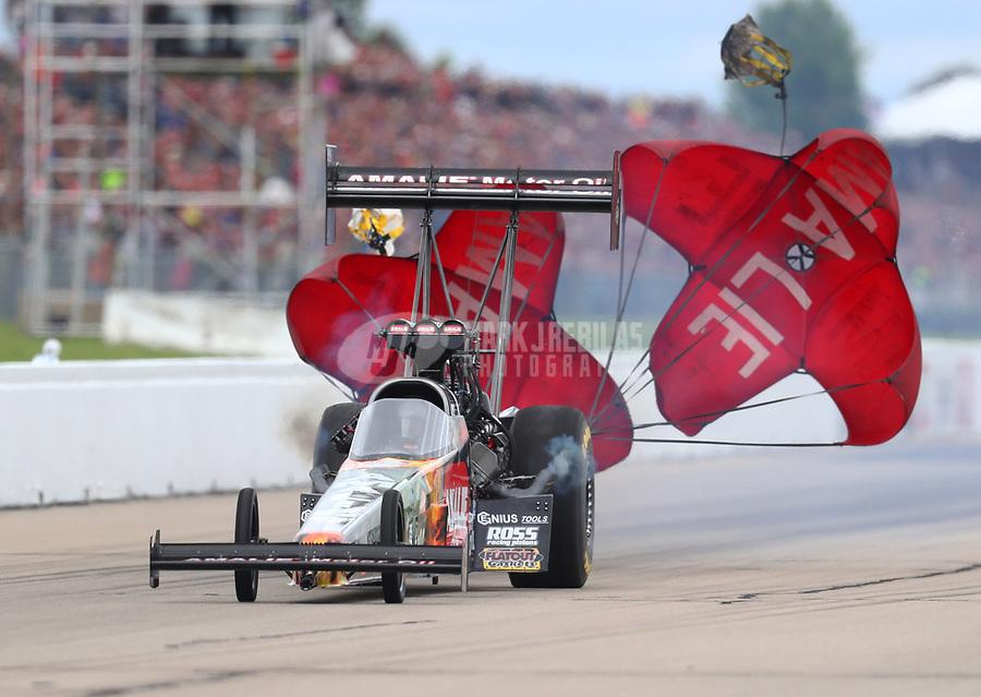 May 20, 2017; Topeka, KS, USA; NHRA top fuel driver Terry McMillen during qualifying for the Heartland Nationals at Heartland Park Topeka. Mandatory Credit: Mark J. Rebilas-USA TODAY Sports