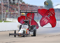 May 20, 2017; Topeka, KS, USA; NHRA top fuel driver Terry McMillen during qualifying for the Heartland Nationals at Heartland Park Topeka. Mandatory Credit: Mark J. Rebilas-USA TODAY Sports