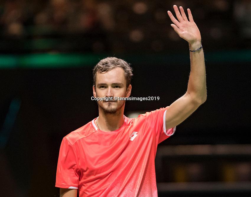 Rotterdam, The Netherlands, 13 Februari 2019, ABNAMRO World Tennis Tournament, Ahoy,  first round singles: Daniil Medvedev (RUS) winner<br /> Photo: www.tennisimages.com/Henk Koster