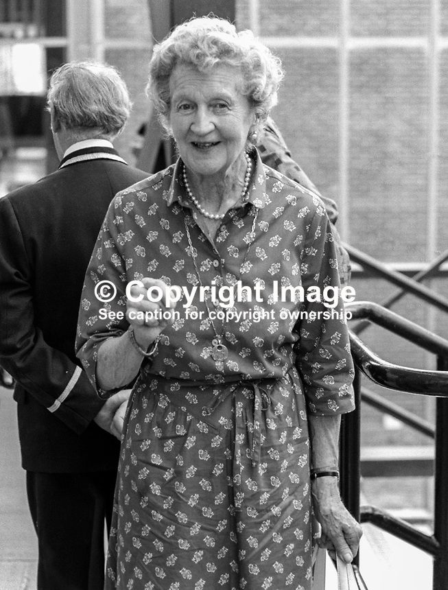 Dowager Duchess of Abercorn, widow of the 4th Duke of Abercorn, at summer graduation ceremony at New University of Ulster, Coleraine,  July, 1982. 19820700104DDA.<br /> <br /> Copyright Image from Victor Patterson, 54 Dorchester Park, Belfast, UK, BT9 6RJ<br /> <br /> t1: +44 28 9066 1296 (from Rep of Ireland 048 9066 1296)<br /> t2: +44 28 9002 2446 (from Rep of Ireland 048 9002 2446)<br /> m: +44 7802 353836<br /> <br /> victorpatterson@me.com<br /> www.victorpatterson.com<br /> <br /> Please see my Terms and Conditions of Use at victorpatterson.com . It is IMPORTANT that you familiarise yourself with them.<br /> <br /> Images used on the Internet incur an additional cost and must be visibly watermarked i.e. &copy;Victor Patterson within the body of the image and copyright metadata must not be deleted. Images used on the Internet have a size restriction of 4kbs and are chargeable at rates available at victorpatterson.com.<br /> <br /> This image is only available for the use of the download recipient i.e. television station, newspaper, magazine, book publisher, etc, and must not be passed on to any third party. It is also downloaded on condition that each and every usage is notified within 7 days to victorpatterson@me.com<br /> <br /> The right of Victor Patterson to be identified as the author is asserted in accordance with The Copyright Designs And Patents Act (1988). All moral rights are asserted.