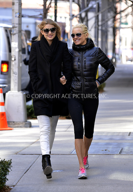 WWW.ACEPIXS.COM......April 3 2013, New York City....Yolanda Foster (L) and ,Gigi Hadid out in Soho on April 3 2013 in New York City......By Line: Curtis Means/ACE Pictures......ACE Pictures, Inc...tel: 646 769 0430..Email: info@acepixs.com..www.acepixs.com
