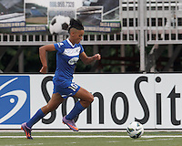 Boston Breakers forward Lianne Sanderson (10) dribbles down the wing. In a National Women's Soccer League Elite (NWSL) match, Sky Blue FC (white) defeated the Boston Breakers (blue), 3-2, at Dilboy Stadium on June 16, 2013.