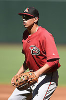 Arizona Diamondbacks first baseman Rudy Flores (34) during practice before an Instructional League game against the Oakland Athletics on October 10, 2014 at Chase Field in Phoenix, Arizona.  (Mike Janes/Four Seam Images)