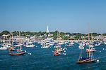 Small Boats and the Congregational Church steeple on Nantucket Harbor, Nantucket, MA, USA