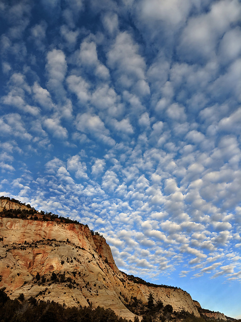 Unusual scattered clouds appear over the Eastside of Zion National Park, Utah