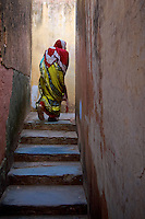 In the corridors of the Amer Fort Jaipur Rajasthan, India