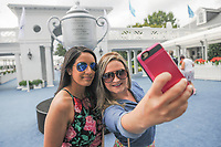 Avid golf fans pose for a selfie at the Quail Hollow entrance during Wednesday's preview of the PGA Championship at the Quail Hollow Club in Charlotte, North Carolina. 8/9/2017.<br /> Picture: Golffile | Ken Murray<br /> <br /> <br /> All photo usage must carry mandatory copyright credit (&copy; Golffile | Ken Murray)