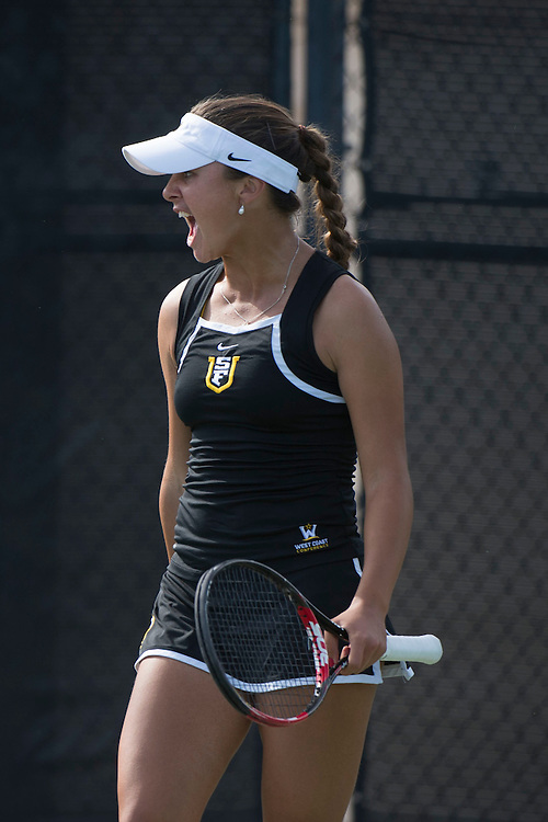 April 23, 2014; San Diego, CA, USA; San Francisco Dons player Marina Nikolic during the WCC Tennis Championships at Barnes Tennis Center.