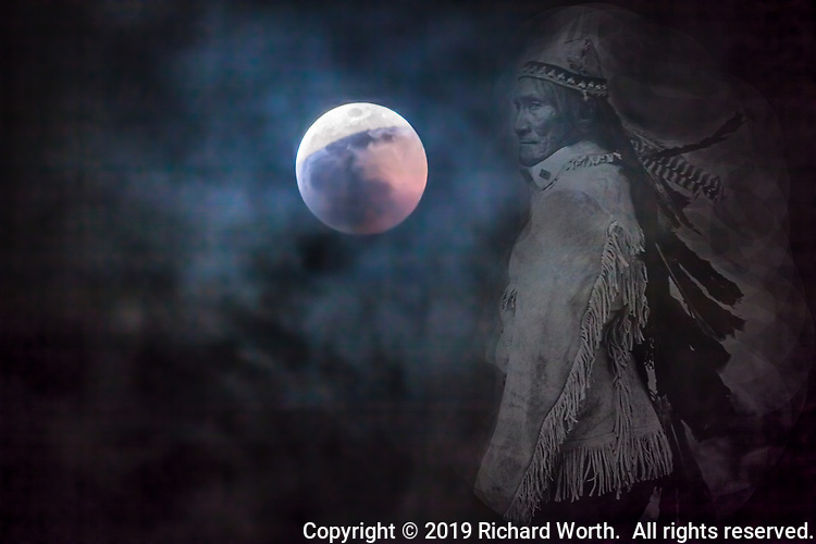 Composite image of a Creative Commons released image of Apache Chief Geronimo against the 2019 Full Wolf Moon Lunar Eclipse.