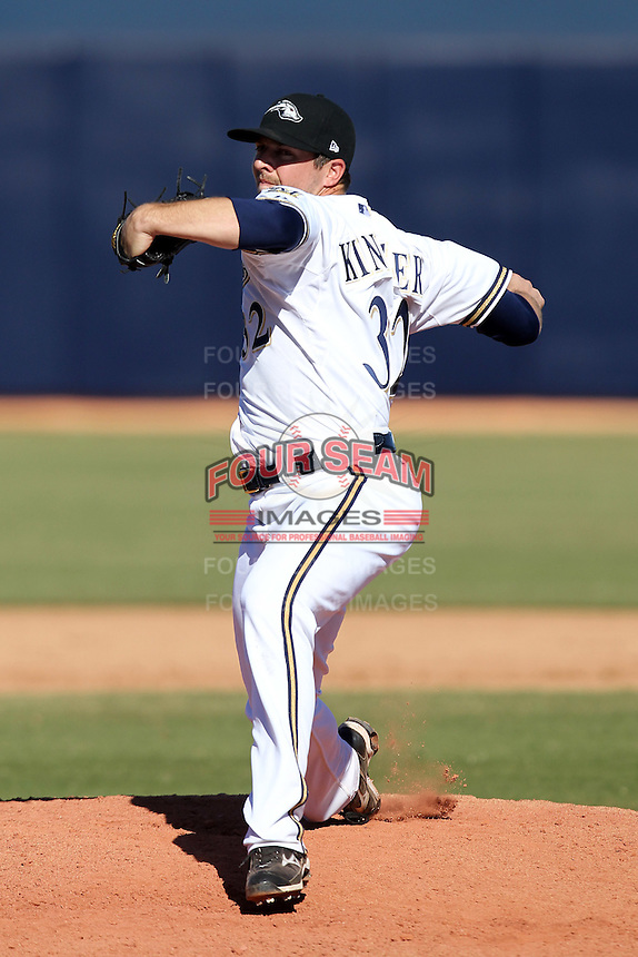 Peoria Javelinas pitcher Brandon Kintzler #32 during an Arizona Fall League game against the Salt River Rafters at Peoria Sports Complex on November 2, 2011 in Peoria, Arizona.  Peoria defeated Salt River 4-2.  (Mike Janes/Four Seam Images)