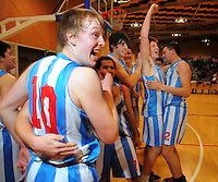 Silverstream celebrate winning the 2012 College Sport Wellington boys division one basketball final between St Patrick's College Town and St Patrick's Silverstream College at Te Rauparaha Arena, Porirua, Wellington, New Zealand on Thursday, 30 August 2012. Photo: Dave Lintott / lintottphoto.co.nz