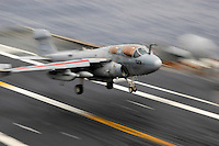 Recovering an EA-6B Prowler aboard USS Abraham Lincoln.