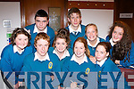 Masterminds from Mercy Mounthawk students in the Kerry Vocational schools European table quiz in Killarney Library on Friday l-r: William O'Leary, Aoife Crowley, Leonie O'Connor. Back row: Danielle Galvin, Aaron Nolan, Siobhain Breen, Niall Buckley, Aoife Garvey and Maeve Lyons..