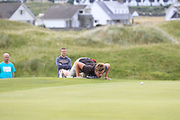 Jack Pierse (Portmarnock) on the 15th green during Round 3 of The South of Ireland in Lahinch Golf Club on Monday 28th July 2014.<br /> Picture:  Thos Caffrey / www.golffile.ie