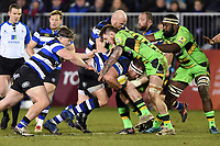 Henry Thomas of Bath Rugby takes on the Northampton Saints defence. Aviva Premiership match, between Bath Rugby and Northampton Saints on February 9, 2018 at the Recreation Ground in Bath, England. Photo by: Patrick Khachfe / Onside Images