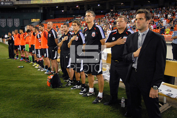 D.C. United head coach Ben Olsen with staff. The New York Red Bulls tied D.C. United 2-2 at RFK Stadium, Wednesday August 29, 2012.