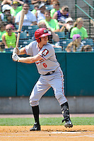Kelson Brown (6) of the Altoona Curve bats during a game against the New Britain Rocks Cats at New Britain Stadium on July 23, 2014 in New Britain, Connecticut.  Altoona defeated New Britain 8-5. (Gregory Vasil/Four Seam Images)
