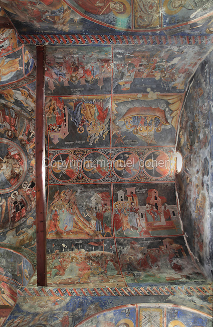 Frescoes on walls and ceiling, 1722, by an unknown artist, in the Church of the Archangels Michael and Gabriel or Kisha e Shen Mehillit or Shen Mehilli, built 1696 and part of a larger church complex, Voskopoje, Korce, Albania. Only the naos and narthex of the church remain, although it was originally a basilica type building covered with vaults and cupolas. Picture by Manuel Cohen