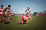 Siulongoua Fotofili dives over to score the first of his 2 tries for Karaka. Counties Manukau Premier Club Rugby game between Karaka and Manurewa, played at Karaka, on Saturday June 14 2014. Karaka won the game 63- 24 after leading 32 - 10 at halftime  Photo by Richard Spranger