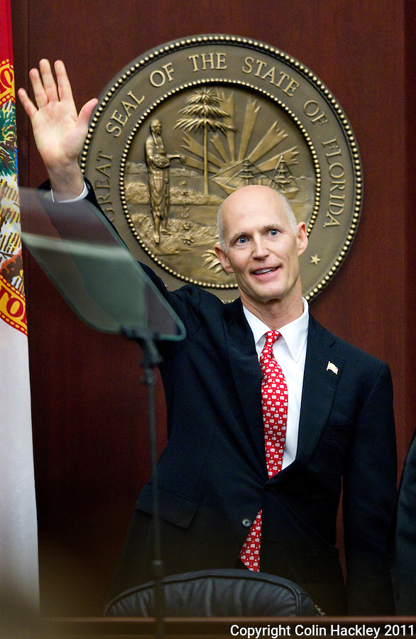 TALLAHASSEE, FLA. 3/8/11-OPENINGDAY030811 CH-Gov. Rick Scott waves after giving the State of the State address Tuesday at the Capitol in Tallahassee..COLIN HACKLEY PHOTO