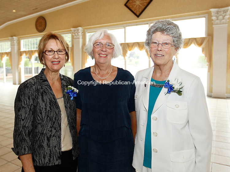 Southington, CT- 14, August 2011-081411CM11 SOCIAL MOMENTS:  L-R:   Sally Rinaldi, President of the Waterbury Hospital School of Nursing Alumni, Ruth Iachtis, Scholarship chairperson and Mary Hart, chairperson of the celebration event,  during the Waterbury Hospital School of Nursing Alumni 100th Anniversary celebration Sunday afternoon at the Aqua Turf in Southington.   Christopher Massa Republican-American