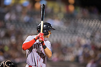 Trea Turner (7) of the Syracuse Chiefs at bat against the Charlotte Knights at BB&T BallPark on June 1, 2016 in Charlotte, North Carolina.  The Knights defeated the Chiefs 5-3.  (Brian Westerholt/Four Seam Images)