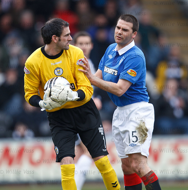 David Healy gives Paul Gallacher a shove for good luck