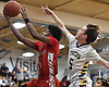Taevon Bazemore #1 of Connetquot, left, scores off a steal during a Suffolk II boys basketball game against host Northport High School on Wednesday, Jan. 9, 2019.