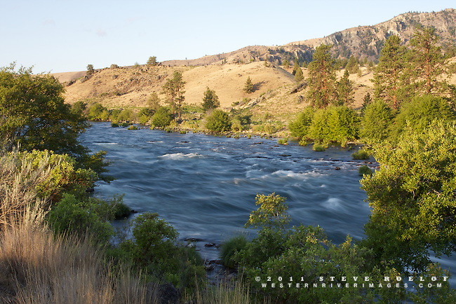 The first rays of morning sun along the Deschutes River, Oregon.