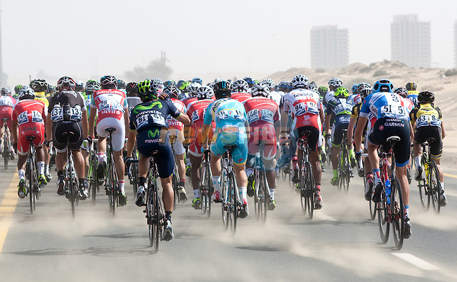Sand and side winds galore during Stage 2 The Sport Stage of the inaugural Dubai Tour 2014 in the Dubai World Trade Centre, Dubai. 6th February 2014.<br /> Picture: ANSA/Peri-Carconi/ www.newsfile.ie