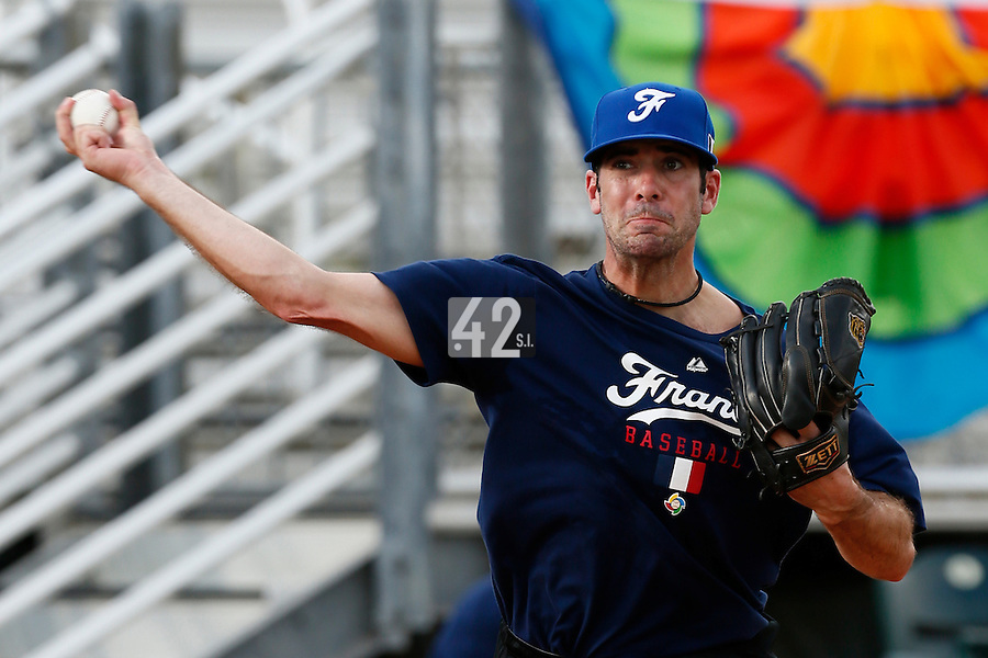 18 September 2012: France Pierrick Le Mestre pitches during Team France practice, at the 2012 World Baseball Classic Qualifier round, in Jupiter, Florida, USA.