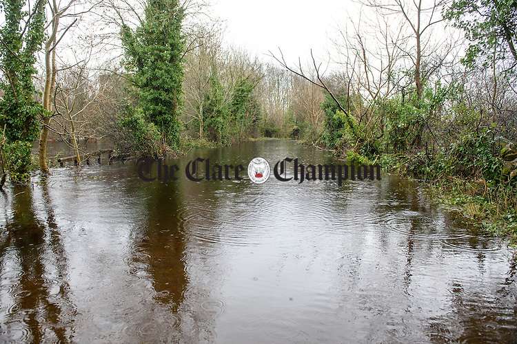 A flooded and impassable road at Streamstown,  Kiltartan, in South Galway. Photograph by John Kelly.