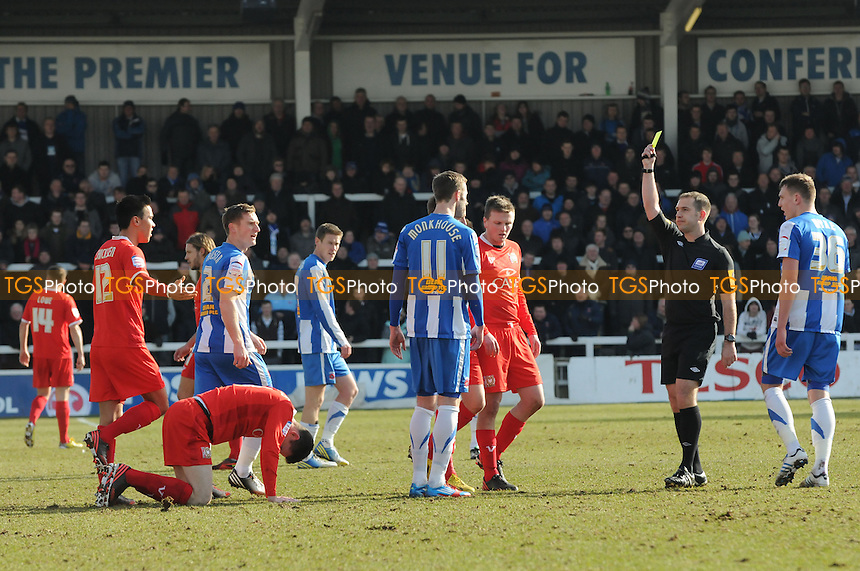 Andy Monkhouse of Hartlepool United is booked - Hartlepool United vs MK Dons - NPower League One Football at Victoria Park, Hartlepool - 29/03/13 - MANDATORY CREDIT: Steven White/TGSPHOTO - Self billing applies where appropriate - 0845 094 6026 - contact@tgsphoto.co.uk - NO UNPAID USE