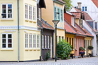 Painted houses in the old town in Odense on Funen Island, Denmark