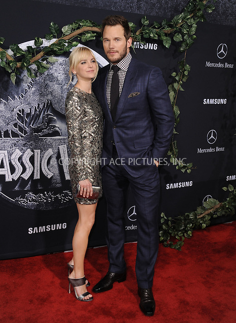 WWW.ACEPIXS.COM<br /> <br /> June 9 2015, LA<br /> <br /> Anna Faris and Chris Pratt arriving at the world premiere of 'Jurassic World' at the Dolby Theatre on June 9, 2015 in Hollywood, California. <br /> <br /> <br /> By Line: Peter West/ACE Pictures<br /> <br /> <br /> ACE Pictures, Inc.<br /> tel: 646 769 0430<br /> Email: info@acepixs.com<br /> www.acepixs.com