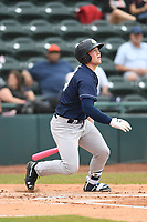 Charleston Riverdogs Josh Breaux (34) bats during the game with the Hickory Crawdads at L.P. Frans Stadium on May 12, 2019 in Hickory, North Carolina.  The Riverdogs defeated the Crawdads 13-5. (Tracy Proffitt/Four Seam Images)